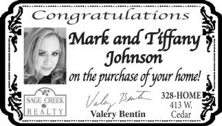 Congratulations Mark and Tiffany Johnson