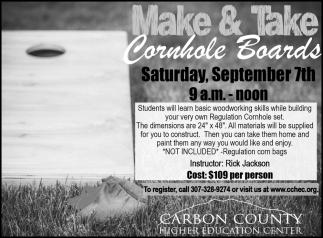 Make & Take Cornhole Borads