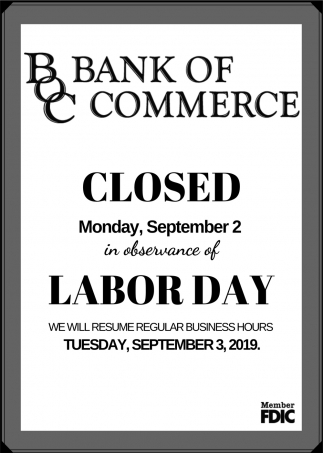 Closed Monday, September 2