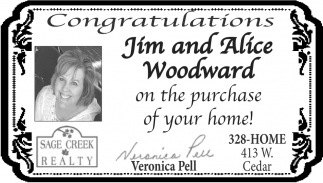 Congratulations Jim and Alice Woodward