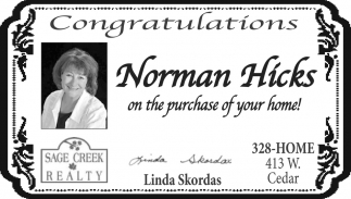 Congratulations Norman Hicks