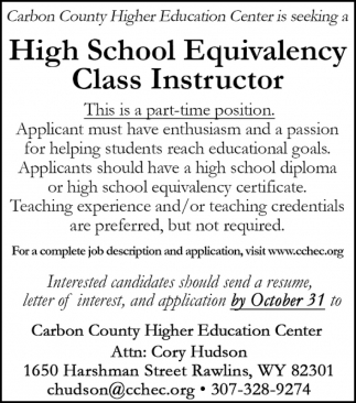 High School Equivalency Class Instructor