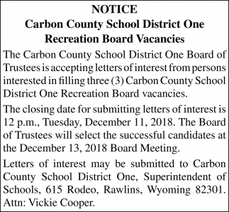 Recreation Board Vacancies