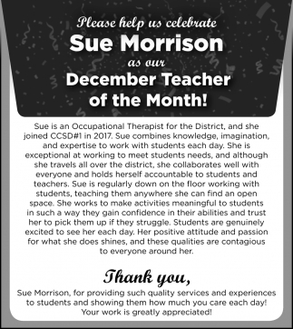 Sue Morrison as Our December Teacher
