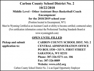 Middle Level - Other Assistant Boys Basketball Coach