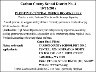 Part-Time Central Office Bookkeeper