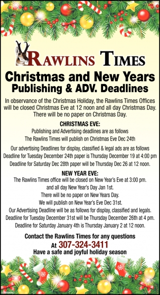 Christmas and New Years Publishing & ADV. Deadlines