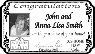 Congratulations John and Anna Lisa Smith