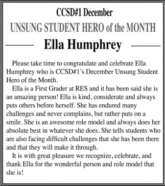 UNSUNG STUDENT HERO of the MONTH