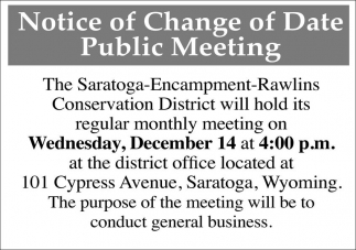 Notice of Public Comment Period & Public Hearing