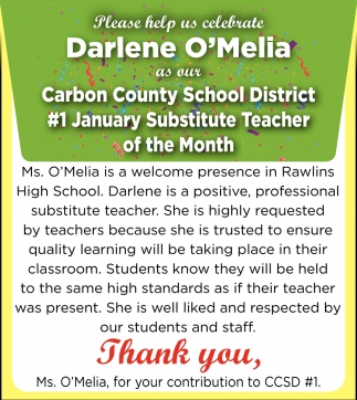 Thank You, Ms. O'Melia, for Your Contribution to CCSD #1