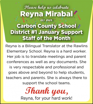 Thank You, Reyna, for Your Hard Work!