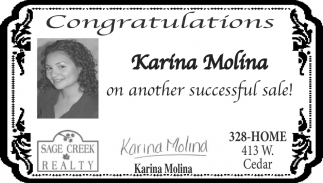 Congratulations Karina Molina On Another Successful Sale!