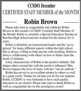 CERTIFIED STAFF MEMBER of the Month