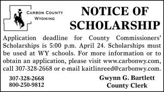 Notice of Scholarship