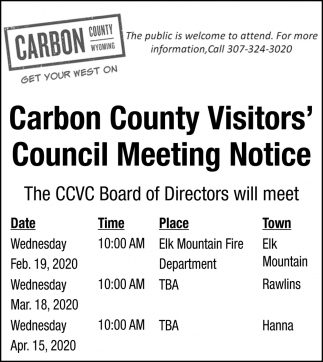 Carbon County Visitors' Council Meeting Notice