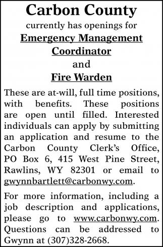 Emergency Management Coordinator and Fire Warden