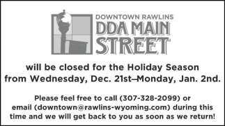 Will be closed for Holiday Season