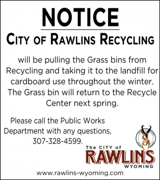 Notice: City of Rawlins Recycling