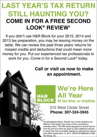 Last Year's Tax Return still Haunting you?