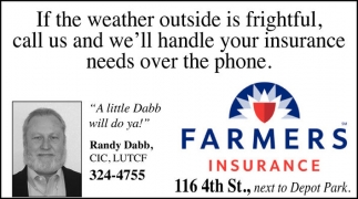 If the weather outside is frightful, call us and we'll handle your insurance needs over the phone