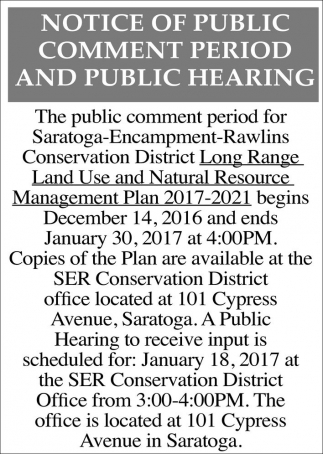 Notice of Public Comment Period and Public Hearing