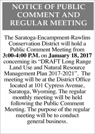 Notice of Public Comment Period and Regular Hearing