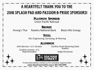 A Heartfelt Thank You to the 2016 Splash Pad and Passion and Pride Sponsors!