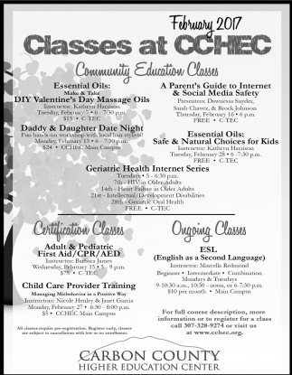 Classes at CCHEC
