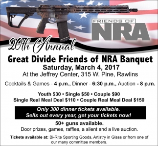 20th Annual Great Divide Friends of NRA Banquet