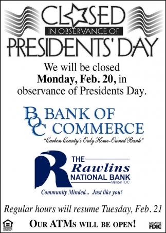Closed in observance of President's Day!