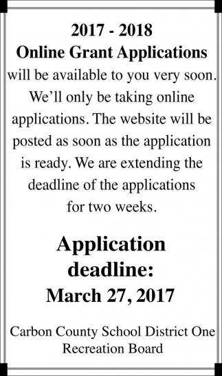 2017-2018 Online Grant Applications