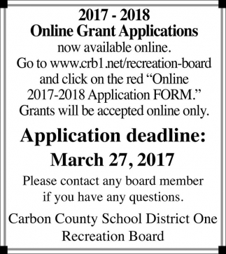 Online Grant Applications