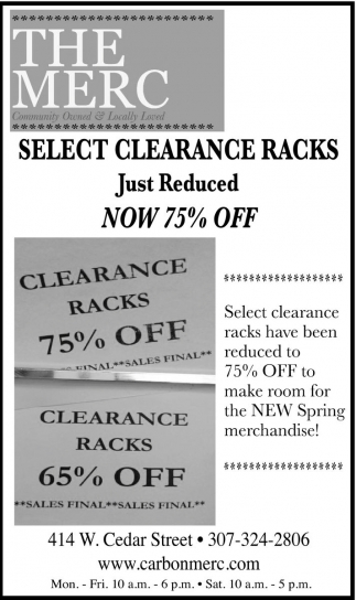 Select Clearance Racks