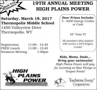 19th Annual Meeting High Plains Power