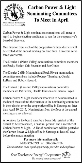 Nominating Committees To Meet in April