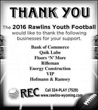 2016 Rawlins Youth Football