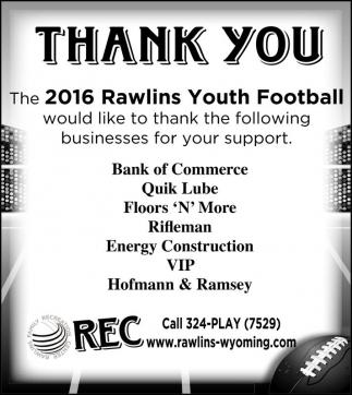 2016 Rawlins Youth Football