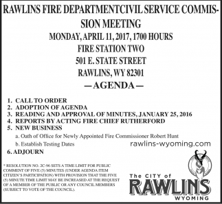 Rawlins Fire Department Civil Service Commision Meeting
