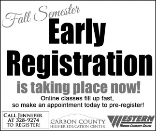 Fall Semester Early Registration is taking place now!