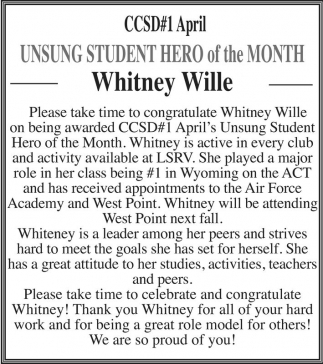 Whitney Student Hero of the Month
