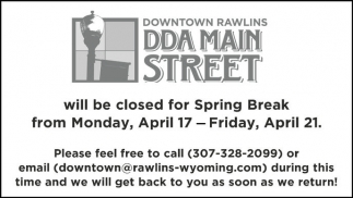Will be closed for Spring Break
