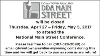Downtown Rawlins will be closed Thursday, April 27