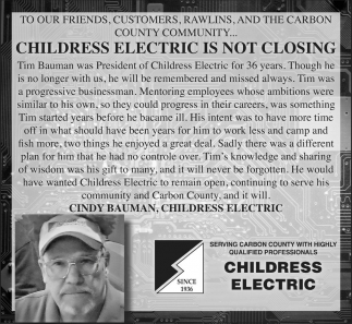 Childress Electric Is Not Closing