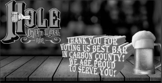 Thank you for voting us best bar in carbon county!